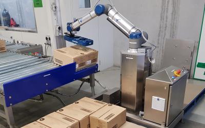 Cobot palletiser solution halves labour costs